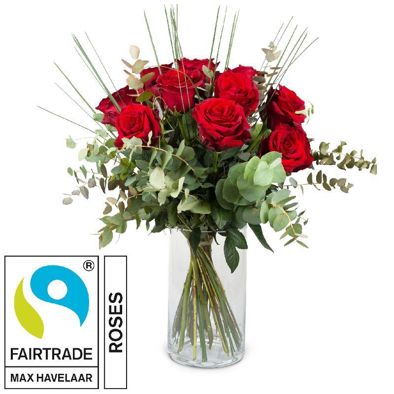 Bouquet de fleurs 12 Red Fairtrade Max Havelaar-Roses with greenery