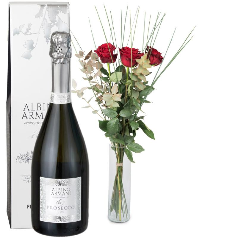Bouquet de fleurs 3 Red Roses with greenery and Prosecco Albino Armani DOC (75