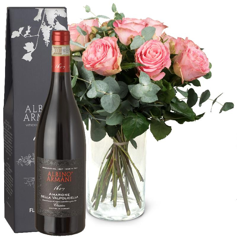 Bouquet de fleurs 12 Pink Roses with greenery and Amarone Albino Armani  DOCG
