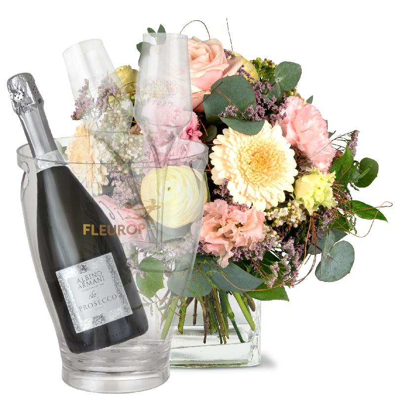 Bouquet de fleurs A Touch of Spring with Prosecco Albino Armani DOC (75 cl), i