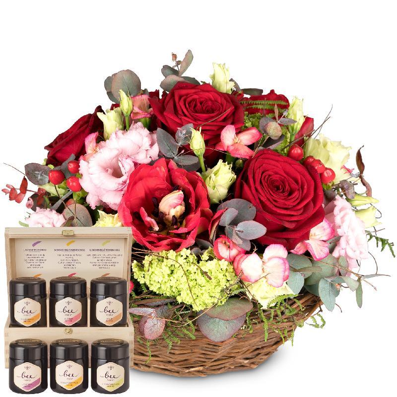 Bouquet de fleurs For my Darling with honey gift set