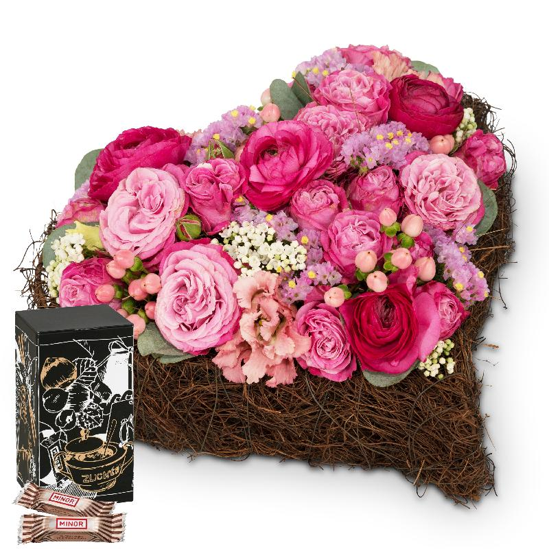 Bouquet de fleurs Dearest Heart with Minor Split in trendy gift tin