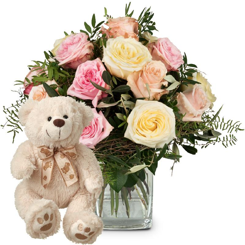 Bouquet de fleurs Cordial Rose Greeting with teddy bear (white)