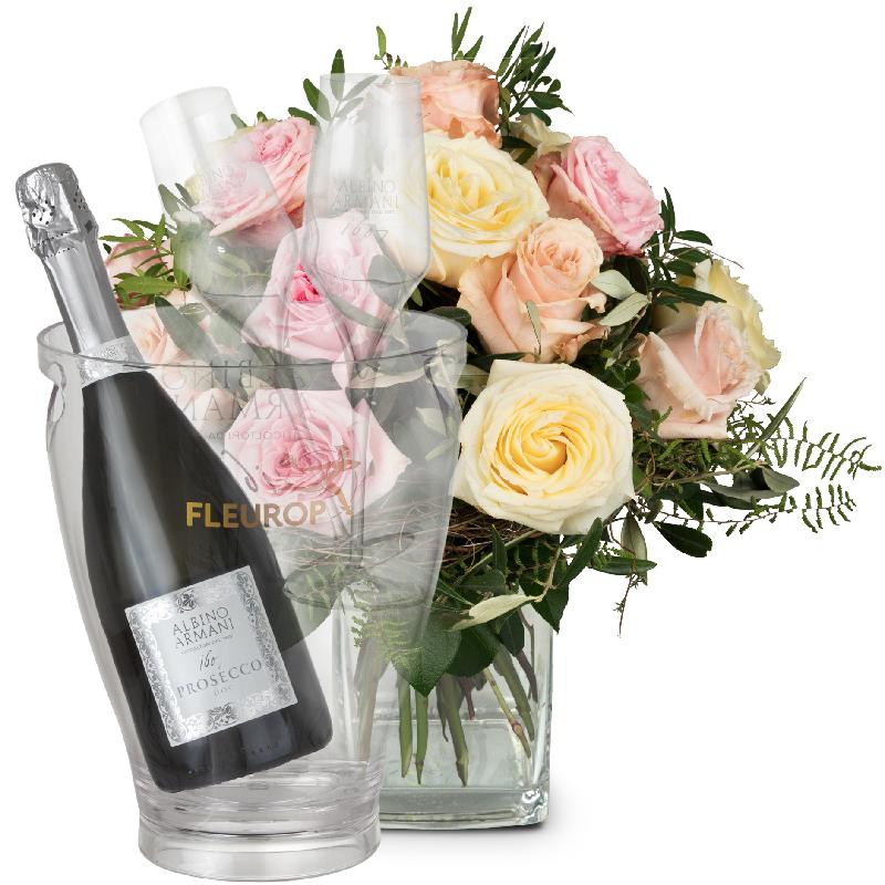 Bouquet de fleurs Cordial Rose Greeting with Prosecco Albino Armani DOC (75 cl
