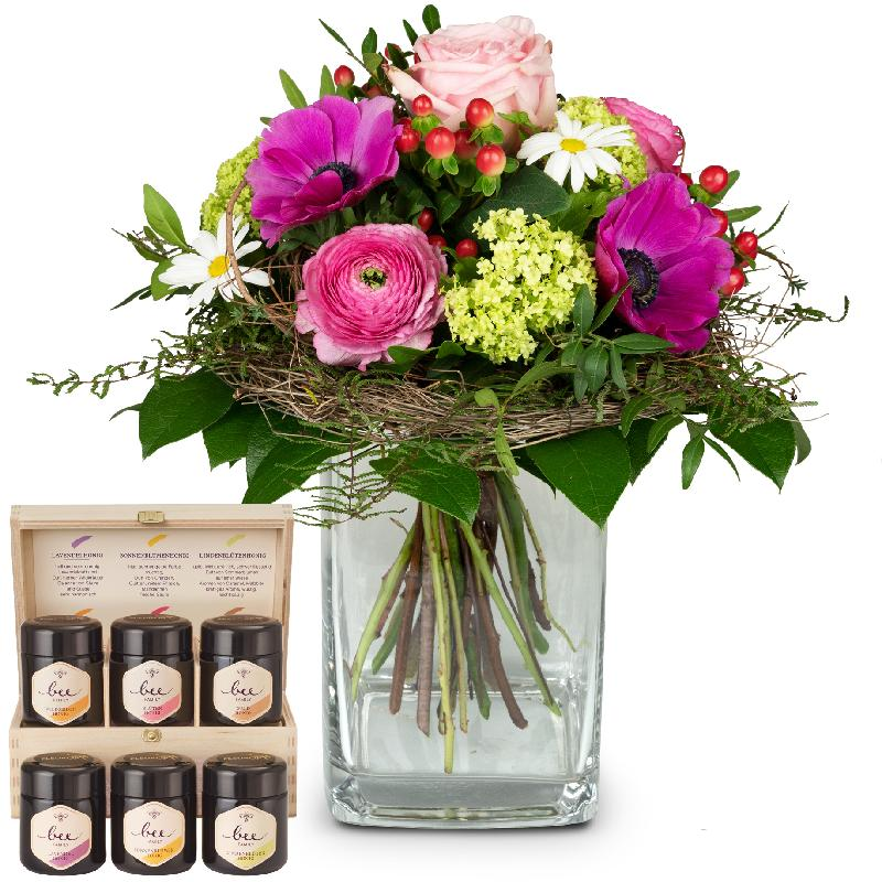Bouquet de fleurs Soft Springmeadow with honey gift set