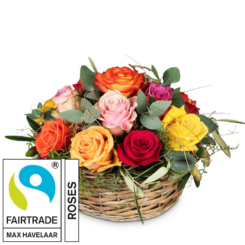 Bouquet de fleurs A Basket Full of Fairtrade Max Havelaar-Roses