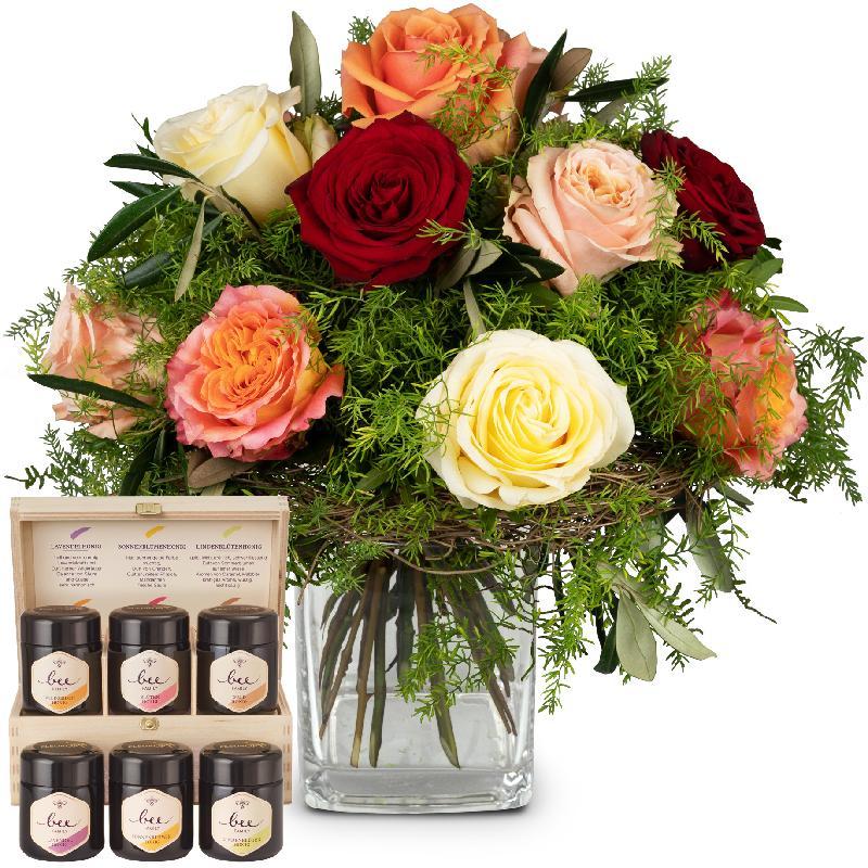 Bouquet de fleurs Fairy Tale of Roses with honey gift set