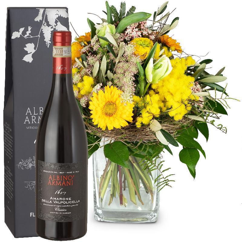 Bouquet de fleurs Spring Sunrays with Amarone Albino Armani  DOCG (75cl)