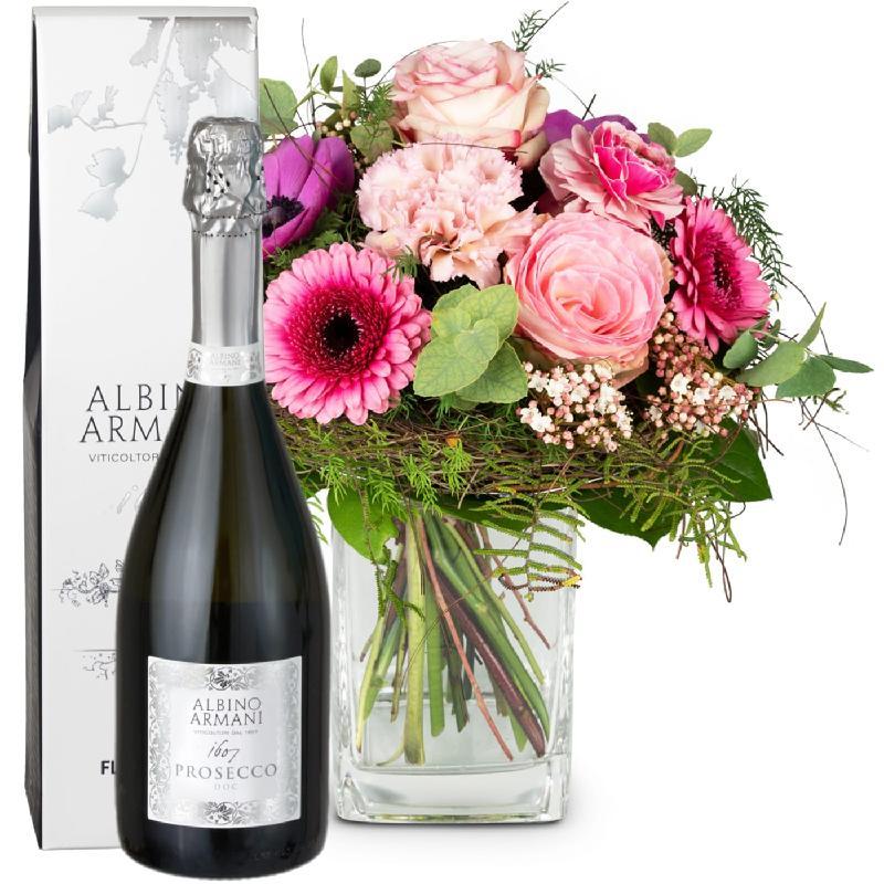Bouquet de fleurs Spring Greeting with Prosecco Albino Armani DOC (75cl)
