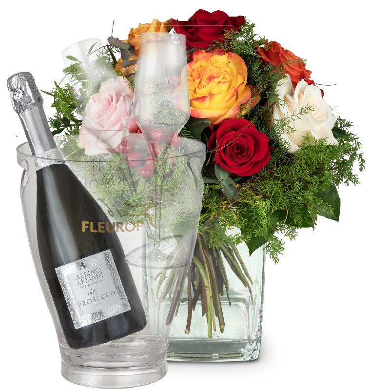 Bouquet de fleurs Magic of Roses with Prosecco Albino Armani DOC (75 cl), incl