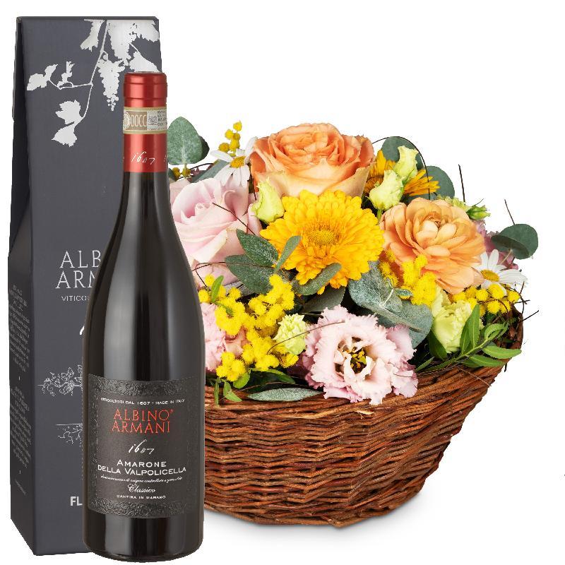 Bouquet de fleurs Cheerful Spring Meadow with Amarone Albino Armani  DOCG (75c
