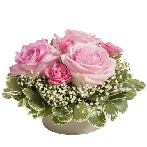 Fleurs deuil Composition ronde avec des roses