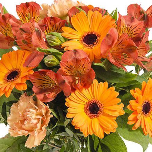 Fleurs deuil Bouquet de saison dans les tons orangé
