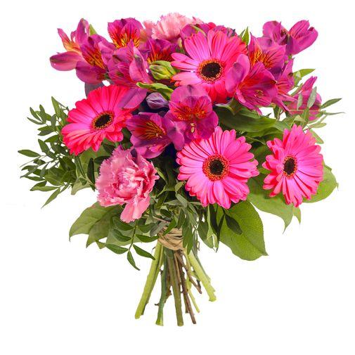 Fleurs deuil Bouquet de saison dans les tons rose
