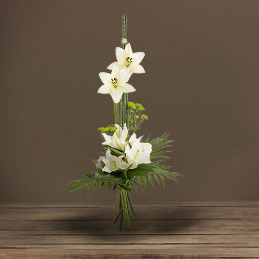 Fleurs deuil Bouquet en hauteur blanc/vert avec lys