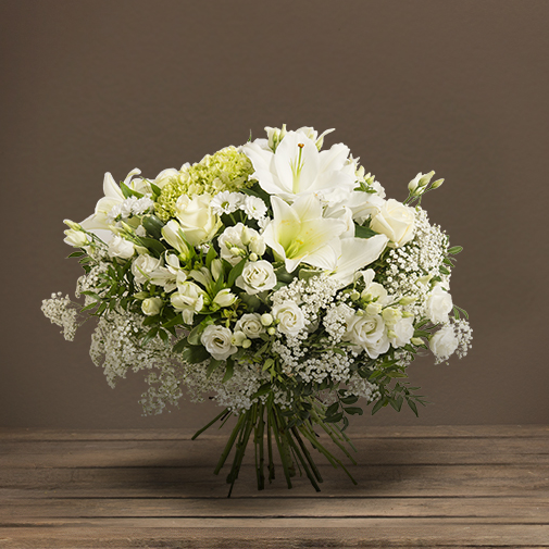 Fleurs deuil Bouquet  Prestige de fleurs  blanches