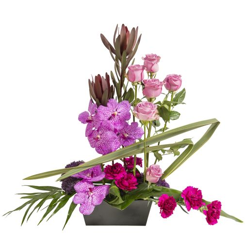 Fleurs deuil Assemblage grahique rose avec roses et orchidées