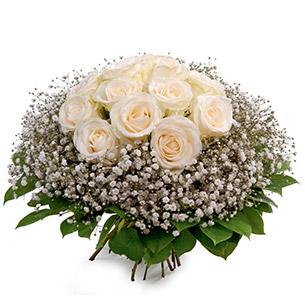Fleurs deuil Bouquet rond de roses blanches Deuil POMPES FUNEBRES