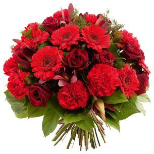 Fleurs deuil Bouquet rond à dominante rouge Deuil POMPES FUNEBRES