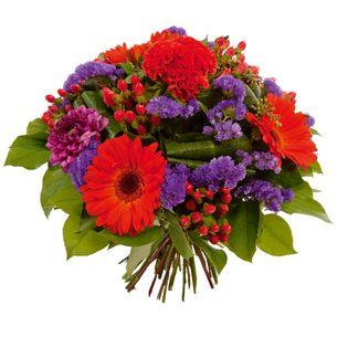 Fleurs deuil Bouquet rond à dominante rouge et violet Deuil POMPES FUNEBRES