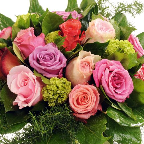 Fleurs deuil Bouquet rond de roses multicolores