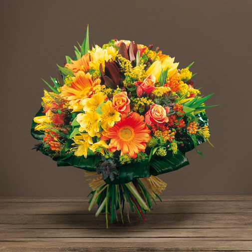 Fleurs deuil Bouquet rond à dominantes jaune et orange