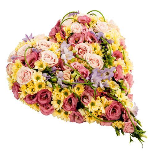 Fleurs deuil Cœur multicolore