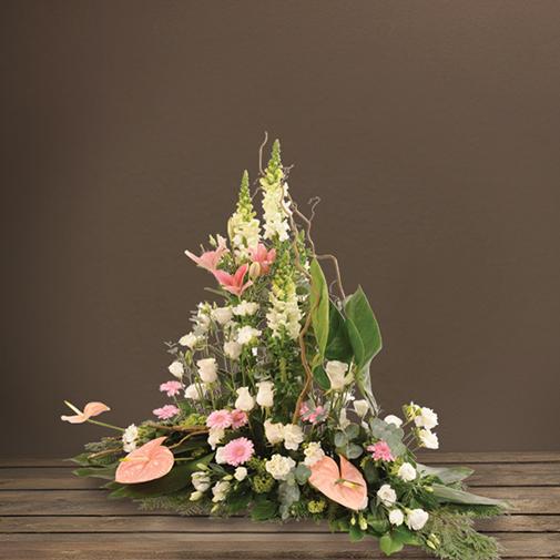 Fleurs deuil Devant de cercueil paysagé pastel