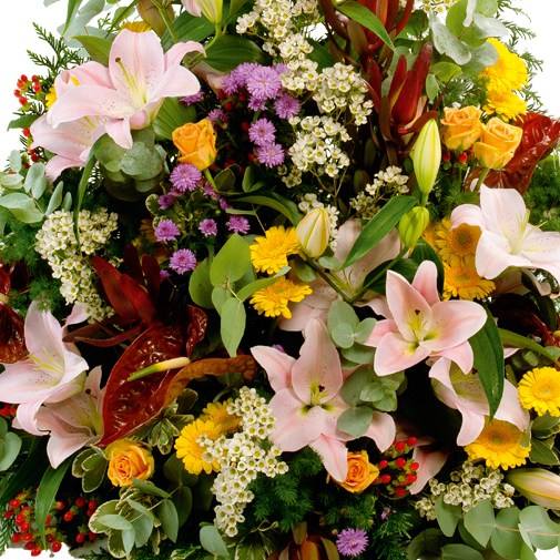 Fleurs deuil Devant de cercueil multicolore
