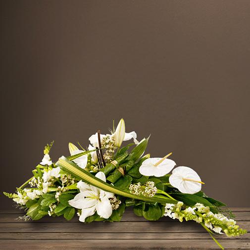 """Fleurs deuil Raquette """"graphique"""" blanche"""