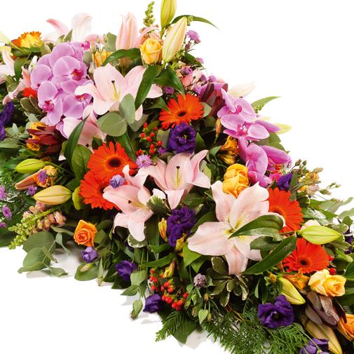 Fleurs deuil Dessus de cercueil multicolore