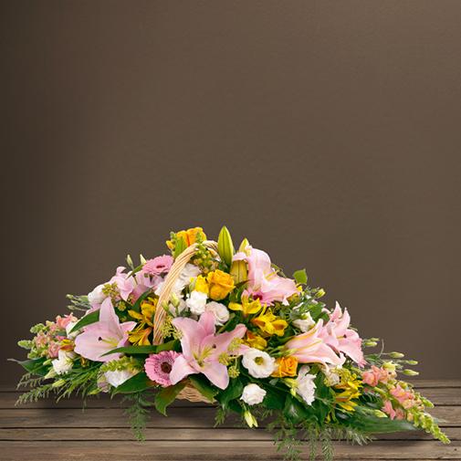 Fleurs deuil Corbeille en longueur pastel