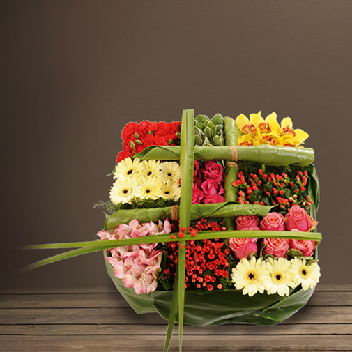 Fleurs deuil Coussin carré multicolore