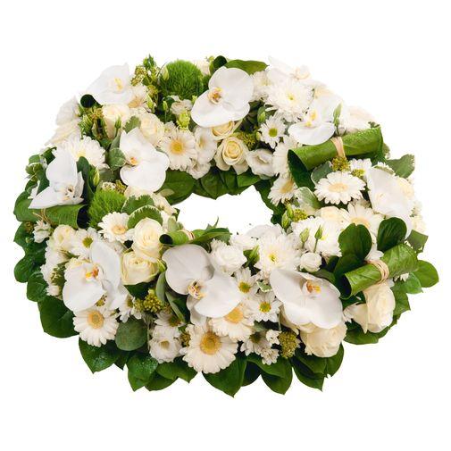 Fleurs deuil Couronne à plat blanche