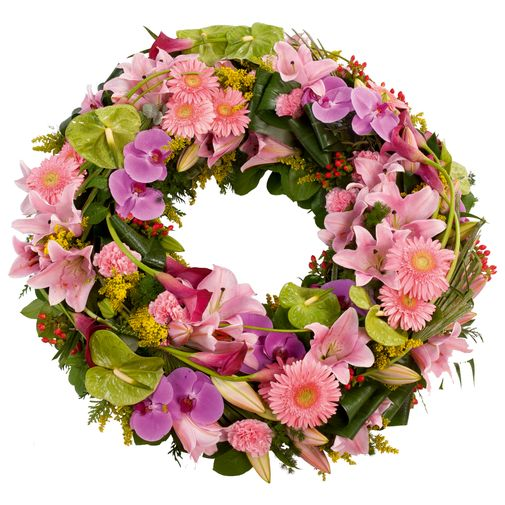 Fleurs deuil Couronne à plat pastel