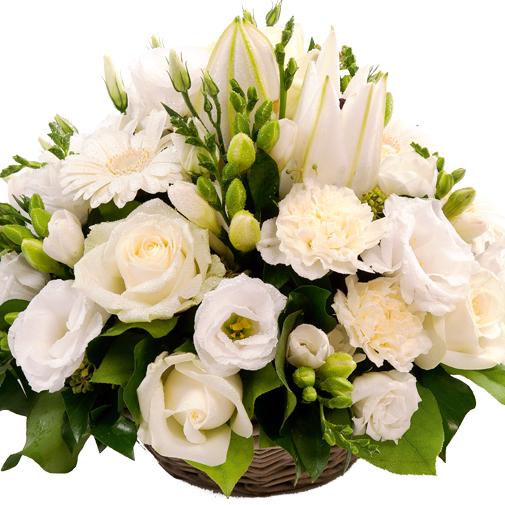 Fleurs deuil Panier rond de fleurs variées blanches