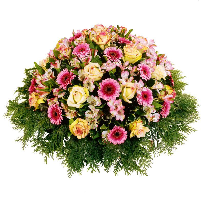 Bouquet de fleurs Coussin rond pastel