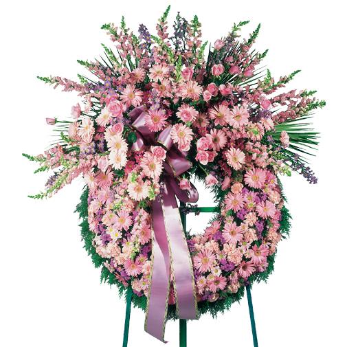 Fleurs deuil Couronne traditionnelle à dominante rose