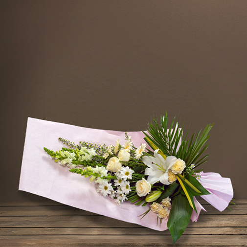 Fleurs deuil Gerbe à main blanche