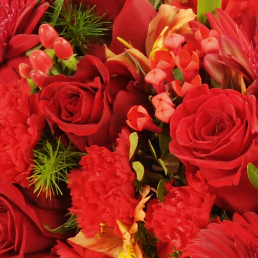 Fleurs deuil Croix rouge / orangé