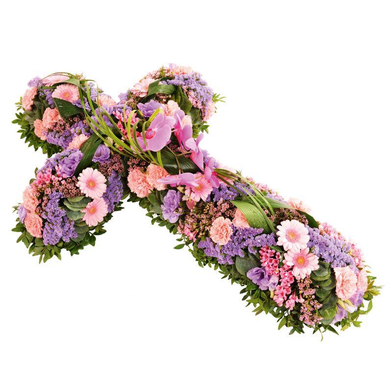 Fleurs deuil Croix rose et mauve