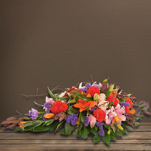 Fleurs deuil Dessus de cercueil multicolore dédié à la crémation