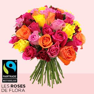 Bouquet de roses Brassée de roses multicolores Max Havelaar Fête des Grands-Mères