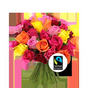 Bouquet de roses Brassée de roses multicolores Max Havelaar Pâques