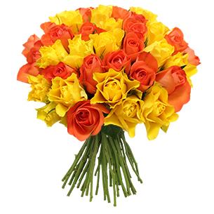 Bouquet de roses Bouquet de roses jaunes et orange +10 roses offertes