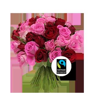 Bouquet de roses Brassée de roses roses Max Havelaar Anniversaire