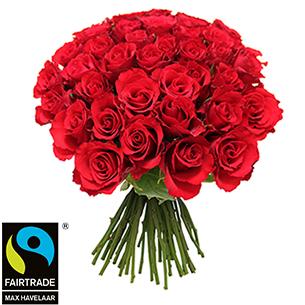 Bouquet de roses Brassée de roses rouges + 10 roses offertes Max Havelaar