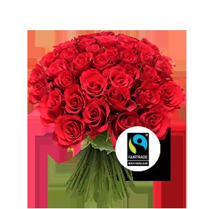 Bouquet de roses Brassée de roses rouges Max Havelaar Amour