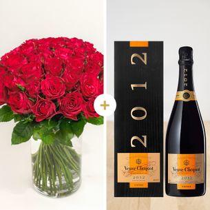 Fleurs et cadeaux Brassée de roses rouges et son champagne Veuve Clicquot Vintage