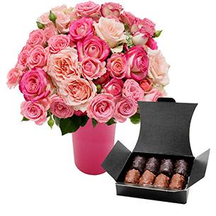 Fleurs et cadeaux Flora délice et son vase offert Amour